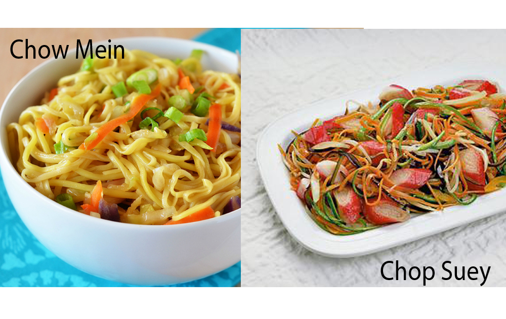 difference between chop suey chow mein
