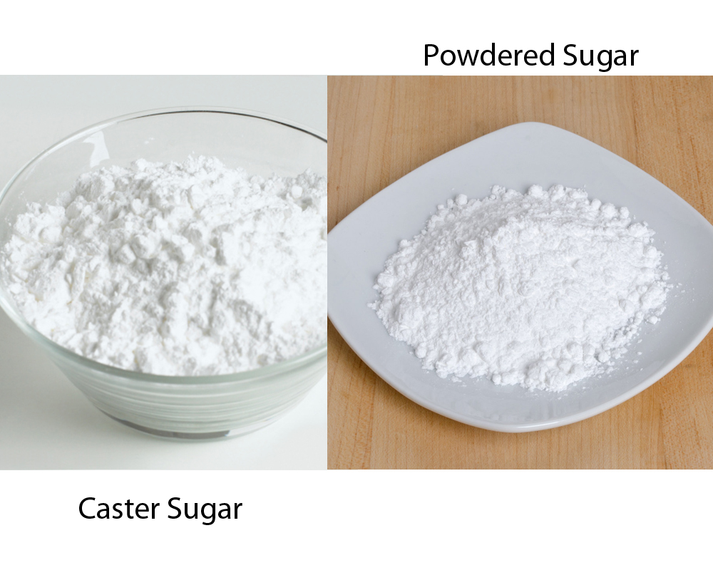 Caster Sugar vs Powdered Sugar 2